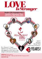 Abundant Love UU Third Anniversary 2/14/21